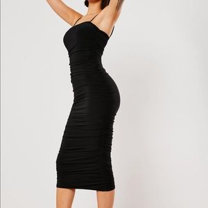 Missguided Dresses - Slinky ruched bodycon midi dress